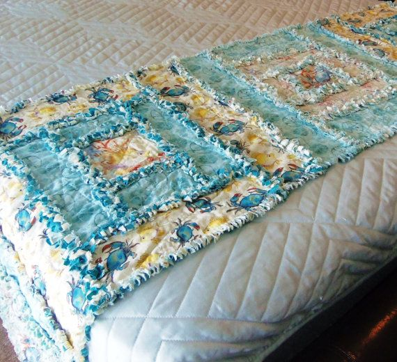 Tropical With Fish And Blue Crabs Bed Runner King By