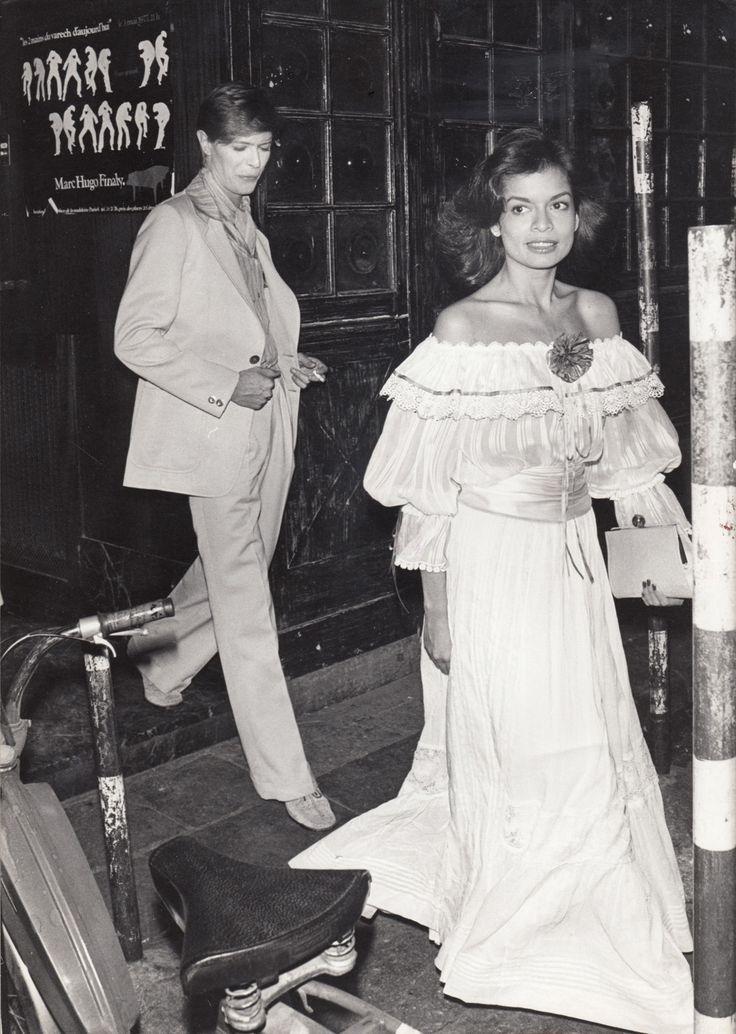 David Bowie escorting Bianca Jagger, 1977