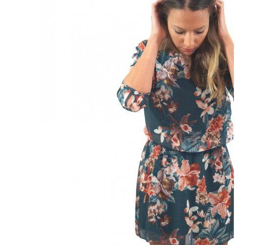 Vestido floral, con goma elástica en la cintura. Mangas de gasa   www.ties-heels.com #tiesheels #shop #shoponline #new #newcollection #instamoda #instafashion #instagood #tienda #flowers #multicolor #dress