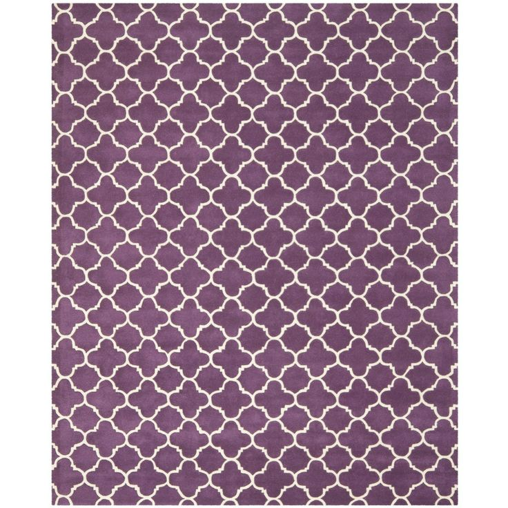 Handmade Moroccan Purple Indoor Wool Rug 8 X 10