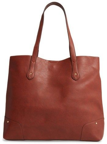 dbce7b9710 Sole Society Rome Faux Leather Tote - Brown Over-the-shoulder handles  provide hands