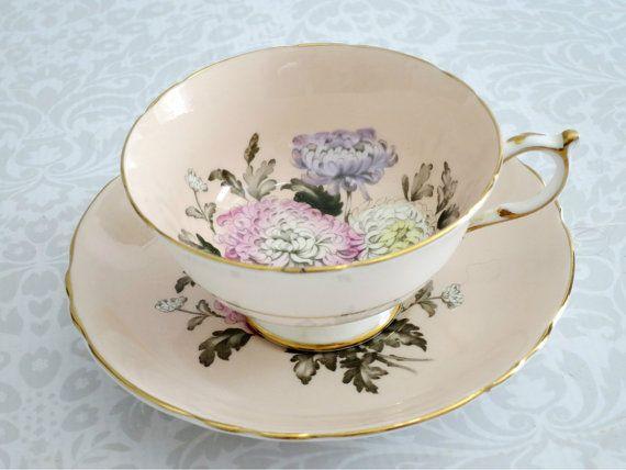 Pink Chrysanthemum Teacup and Saucer