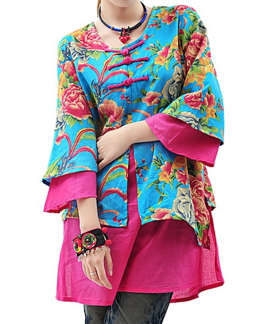 Floral Colors Dual Layers Coat