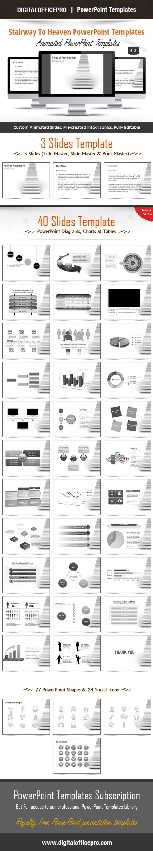 Impress and Engage your audience with Stairway To Heaven PowerPoint Template and Stairway To Heaven PowerPoint Backgrounds from DigitalOfficePro. Each template comes with a set of PowerPoint Diagrams, Charts & Shapes and are available for instant download.