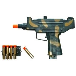 Conquer the battlefield with this UZI Camo Dart Gun.  Using spring technology, this gun fires soft tip darts (ten included). Get yours today. Free Shipping.
