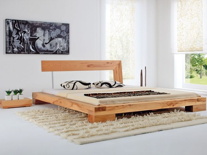 Balkenbett haineck modern wood bed designs diy for Simple bed designs