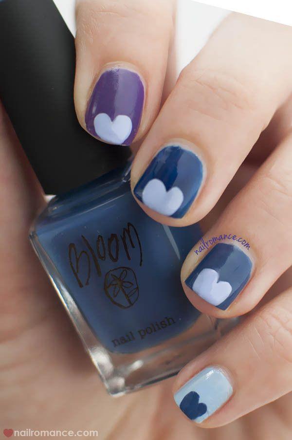 Blue Valentine   Easy Heart Nail Art