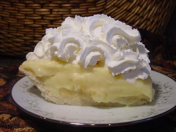 "Old-Fashioned Banana Cream Pie --  ""Before Cool Whip and instant pudding, this was how a cream pie was made. If you leave out the bananas, you have vanilla cream pie. If you add 1 cup shredded coconut to milk as it's being heated, you have coconut cream pie."""