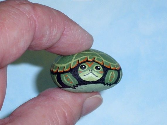 Snapping Turtle spring garden decor hand painted rocks by