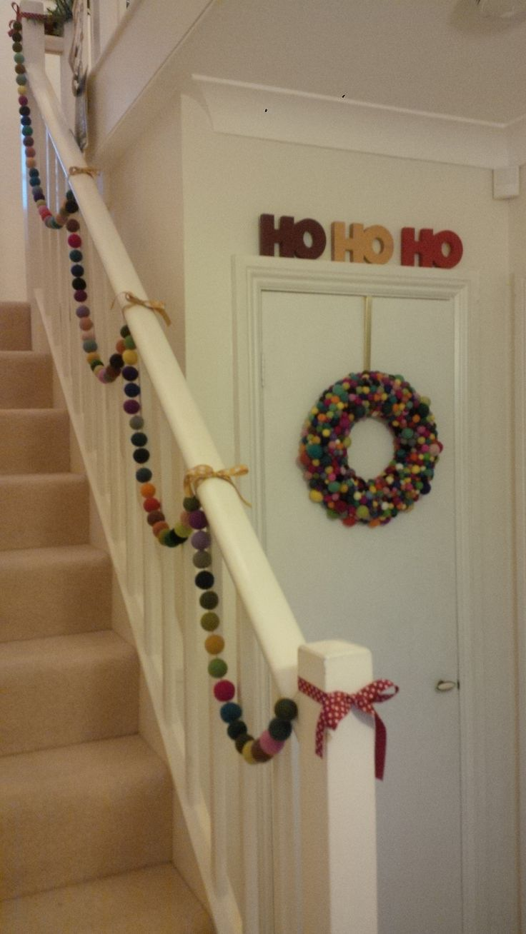 Felt ball garland and wreath