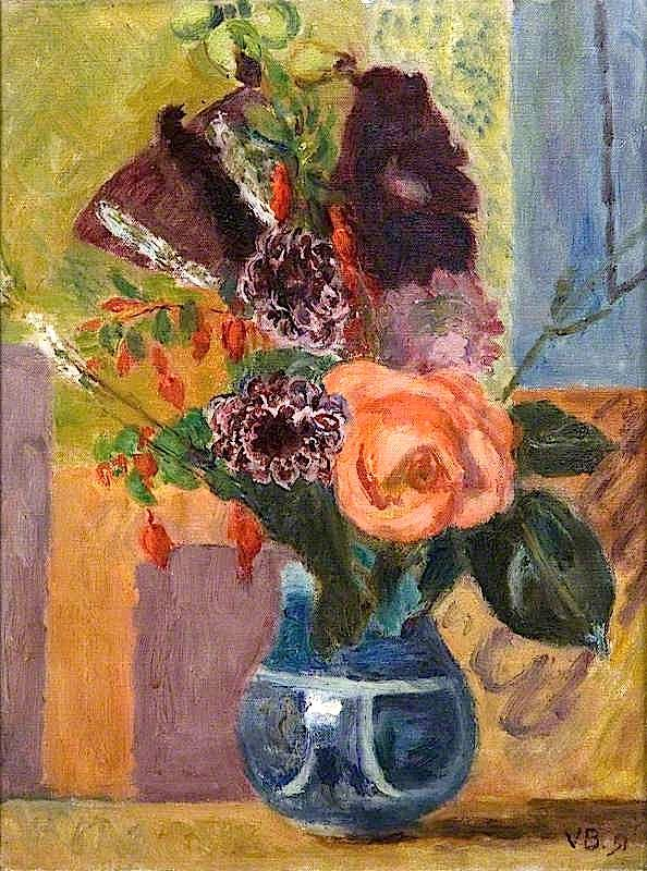 Flowers in a Blue Vase by Vanessa Bell