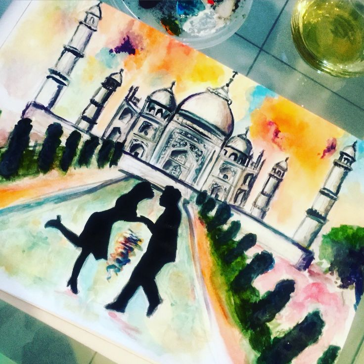 Taj Mahal at sunset :)  By cloudy.arts  #art #painting #sunset #couple #sillouette