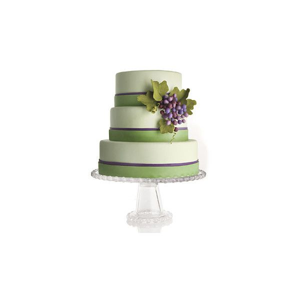 Green Wedding Cake with Grapes, Stripes Wedding Cakes Photos ❤ liked on Polyvore featuring food, wedding cakes, cakes, wedding and food and drink