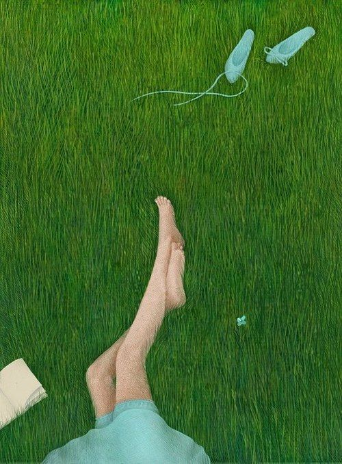 Relaxed reader in the field / Relax lector en el campo (ilustración de Galina Zynko-Галина Зинько)