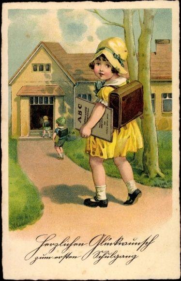 Ak Glückwunsch Einschulung, Erster Schulgang, Mädchen, Schulbuch, Ranzen | eBay