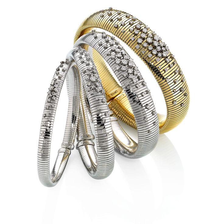 CHIMENTO Stardust yellow and white gold bracelets with diamonds.