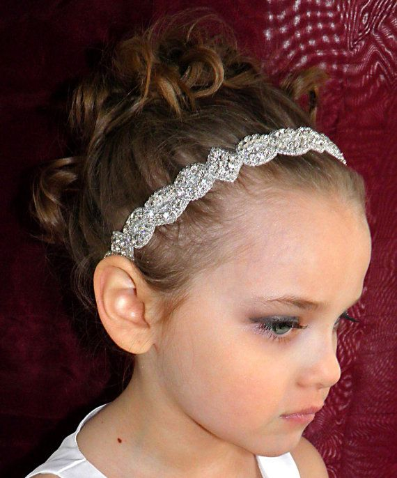 Baby girl christening headpiece flower girl by Tatishotties, $80.00
