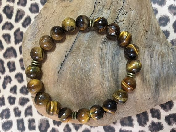 Tiger Eye Beaded Bracelet for Men Tiger Eye by JewelrybyJAM