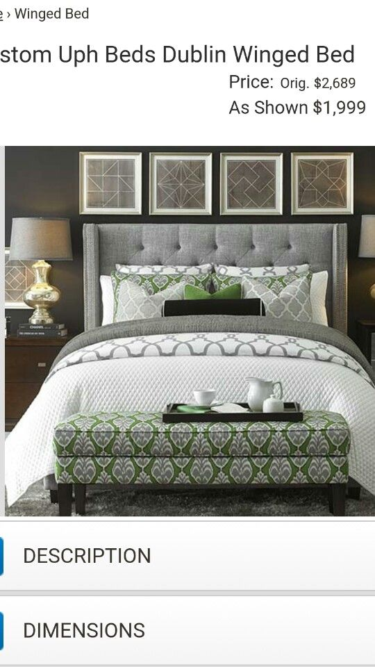 HGTV Home® Custom Upholstered Dublin Winged Bed By Bassett Furniture.  Border Can Be Trimmed With Antique Brass Or Nickel Nail Head.