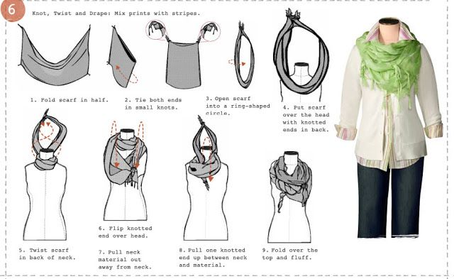 Miss Refashionista: 6 ways to tie your scarf (Via Coldwater creek)