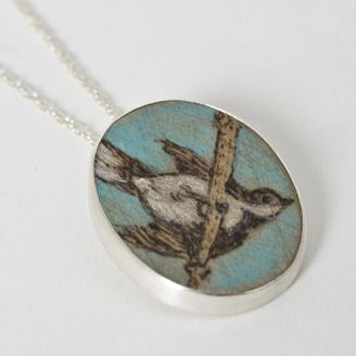 Pyrography necklace by Jennea Frischke (Calgary, AB). Member of the Alberta Craft Council