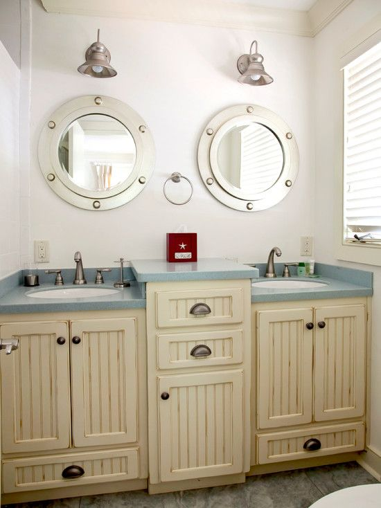Bathroom Ideas | Double Vanity | Bath Design | Porthole Medicine Cabinet | Nautical Interior
