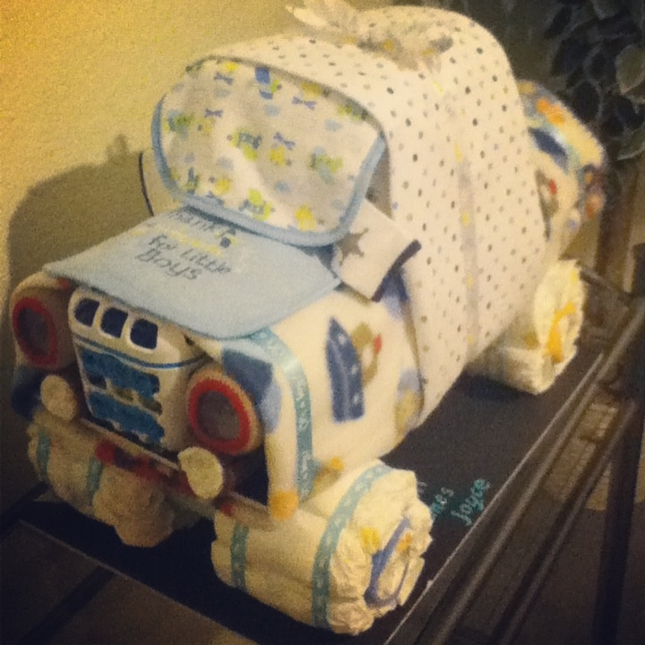 Diaper Truck Made For Baby Shower Gift