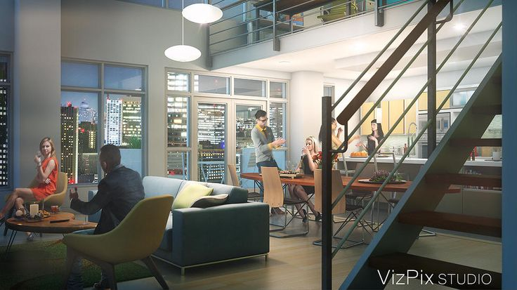 3D architectural visualization rendering of an open concept loft in a modern high rise apartment condo. Image rendered by VizPix Studio.