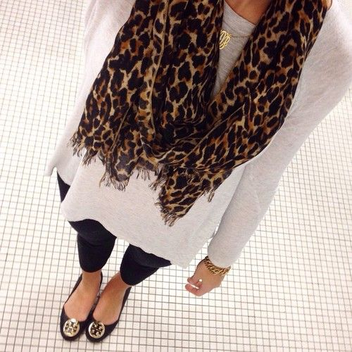 Love the leopard print scarf and the tory burch flats, perfect for fall!
