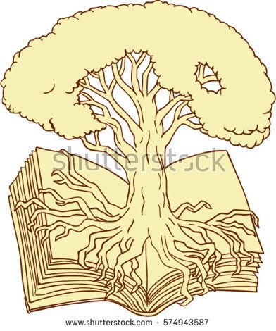 Drawing sketch style illustration of an oak tree rooted on book set on isolated white background.  #oaktree #sketch #illustration