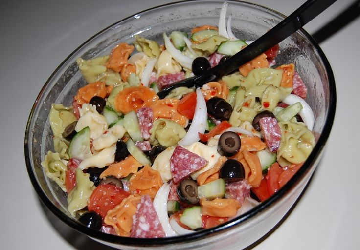 wpurp-searchable-recipeItalian Cheese Tortellini Salad - Cheese filled tortellini pasta, cucumber, tomato, red onion, black olives and salami, tossed with a Zesty Italian Dressing! - Olivieri fresh 7-