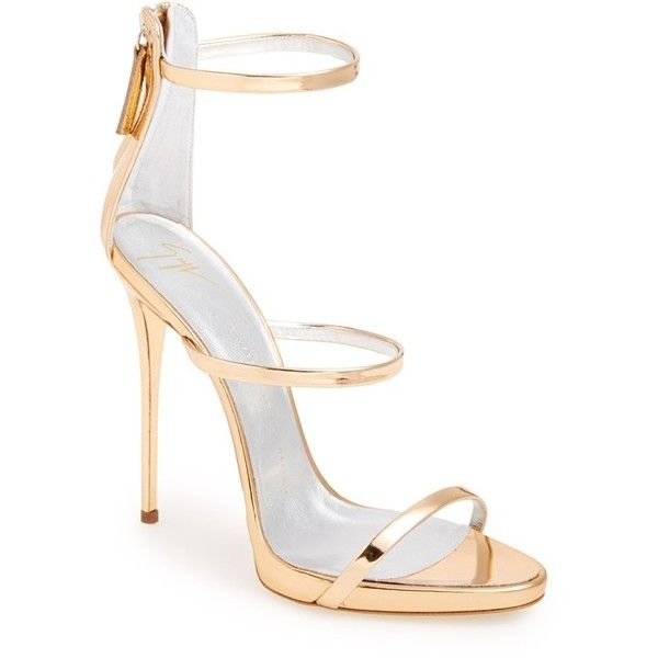Giuseppe Zanotti 'Coline' Sandal (£550) ❤ liked on Polyvore featuring shoes, sandals, heels, gold patent, stilettos shoes, giuseppe zanotti shoes, strappy stiletto sandals, patent sandals and strappy shoes