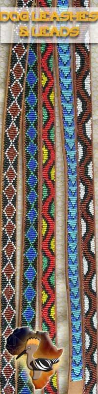 Appliquéd #bead work dog #leashes or #leads.  110cm - 120cm length.  Bold #Maasai geometric patterns  Available at https://bazaar-africa.eu/