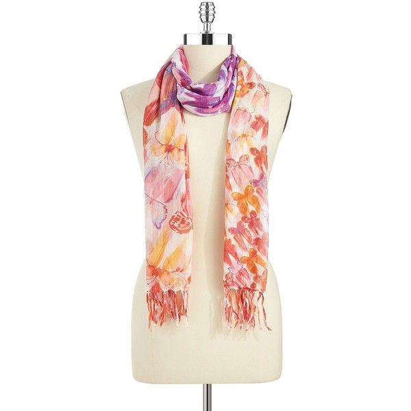 ECHO Butterfly Scarf (25 AUD) ❤ liked on Polyvore featuring accessories, scarves, hot pink, fringe scarves, butterfly shawl, fringe shawl, wrap shawl and echo scarves