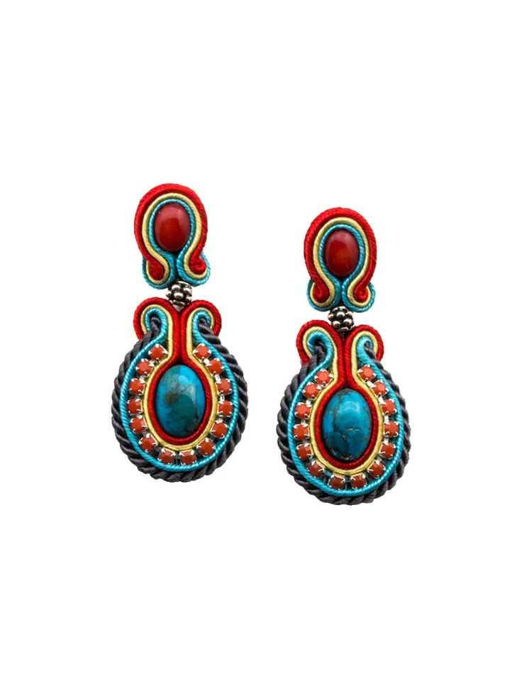 Soutache Earrings - Vintage Ara  Soutache earrings with natural stone: turquoise and coral with Swarovski cup chain and silver elements. Silver stud. Earrings were finished by natural leather.  Length 5cm, widest part 2.2cm.