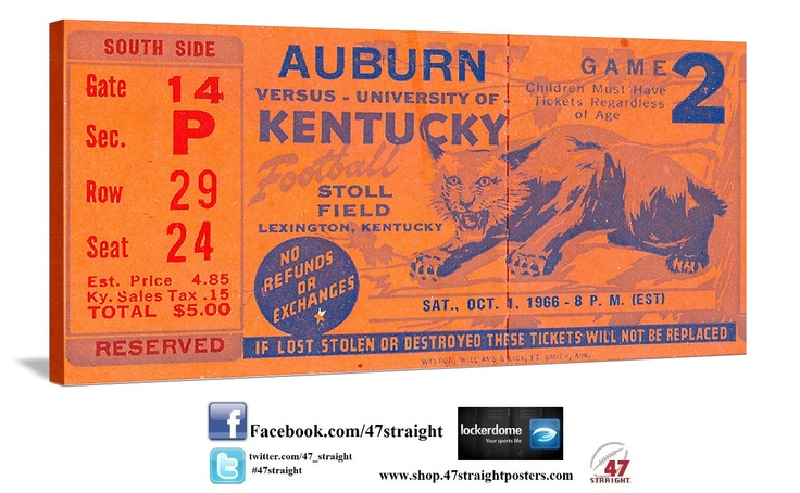 Click to watch our YouTube video! Kentucky Wildcats Father's Day Gifts. Kentucky Wildcat gift ideas. 47 STRAIGHT.™ College football art made from over 2,000 historic college football tickets like this 1966 Auburn vs. Kentucky football ticket. America's best vintage sports art.™ #47straight Best Father's Day gifts on Pinterest. Father's Day sports gifts.