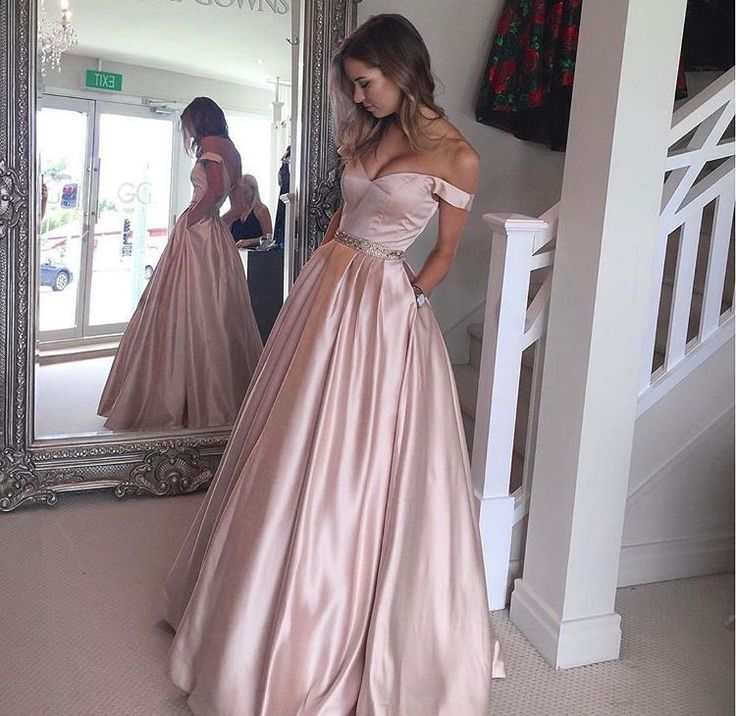 pink prom dresses,off the shoulder formal dresses,wedding party dresses,banquet gowns on Storenvy