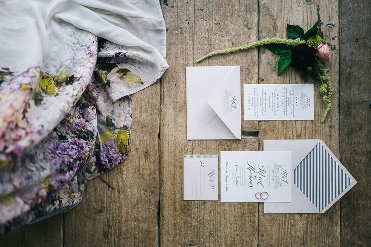 Wedding Stationery & Floral Print Dress - Floral Print Wedding Dress by Anna Fuca   Tuscan Treehouse Bridal Inspiration Shoot   Images by Stefano Santucci