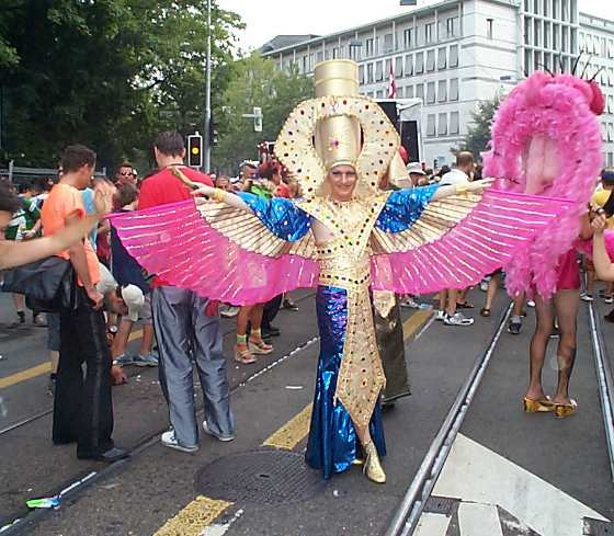 Streetparade Zurich. Happy beautiful peacock