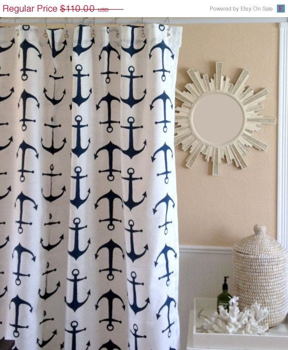 Spring SALE New - Shower Curtain - Nautical Shower Curtain - Navy Blue Anchors Shower Curtain - Navy Curtain, etsy.com