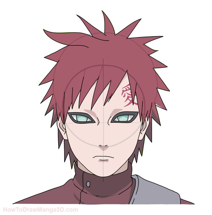 .How to draw Gaara from Naruto step by step