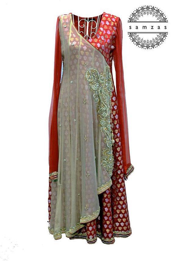 Pakistani Shalwar kameez angraka churidaar Indian Bollywood formal medium  on Etsy, $320.00