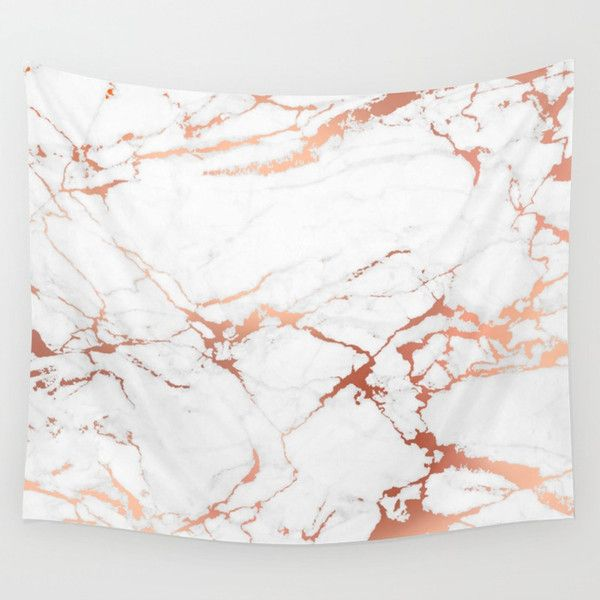 White rose-gold marble Wall Tapestry ($44) ❤ liked on Polyvore featuring home,…