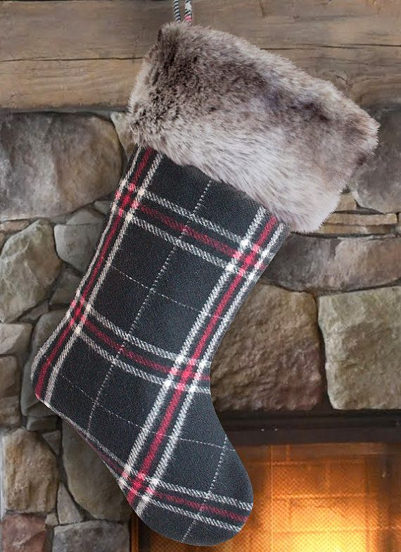 Plaid Christmas Stocking Plaid Stockings by MeredithRosePetal