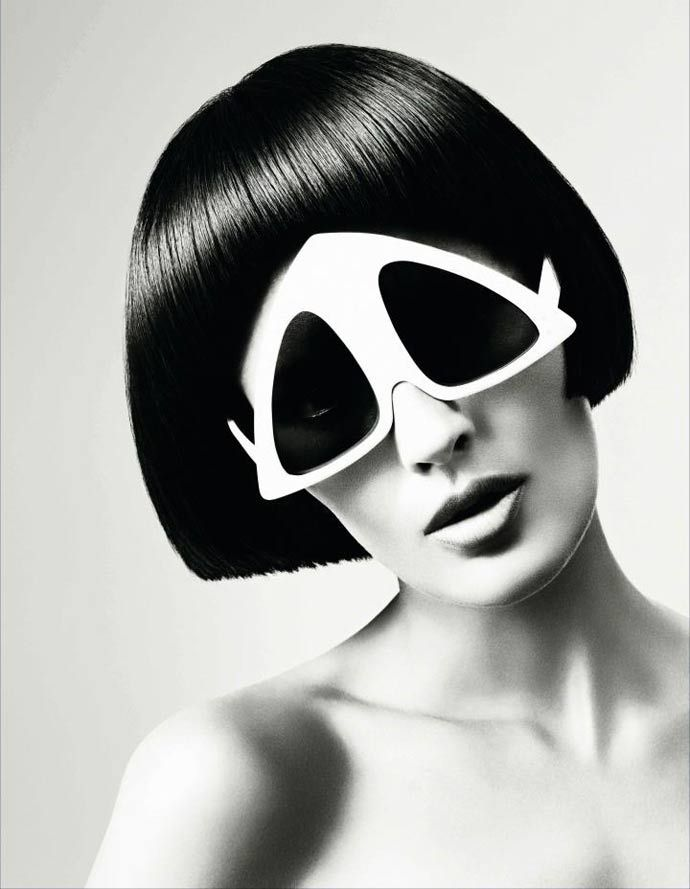 Oliver Goldsmith pyramid sunglasses from a 1960s Vidal Sassoon's campaign