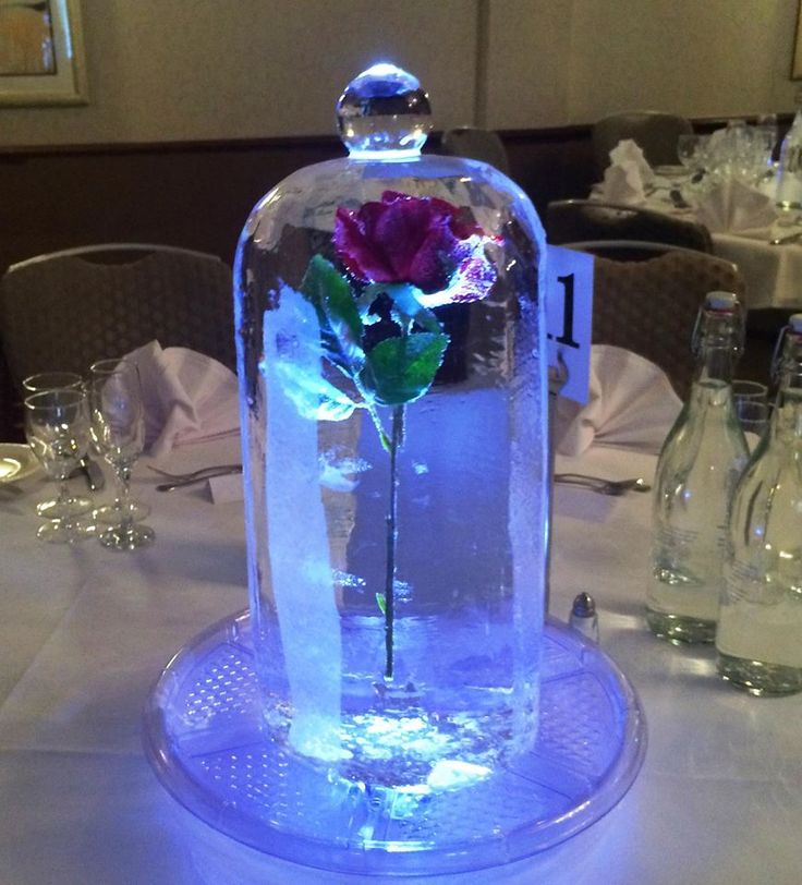 Our Beauty & the Beast inspired Red Rose Dome, perfectly made in ice, a wonderful compliment for a Disney themed wedding