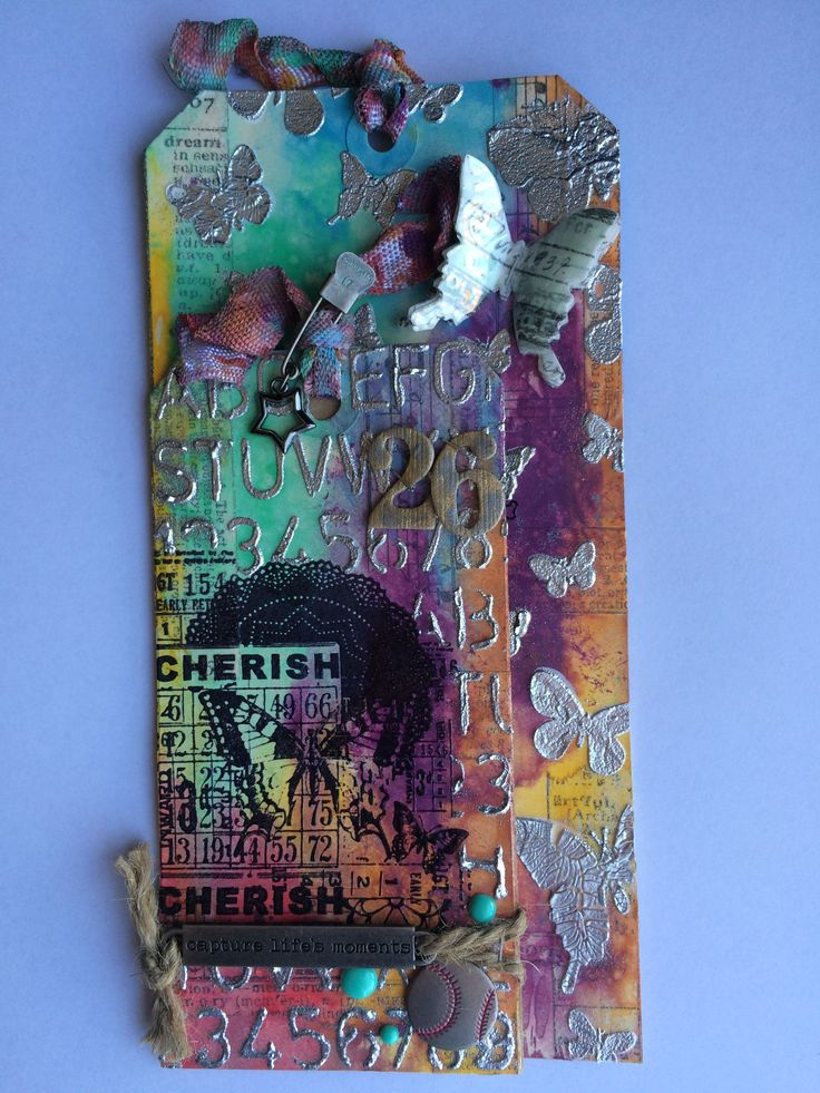 Card made with Tim Holtz March 2015 Tag technique...