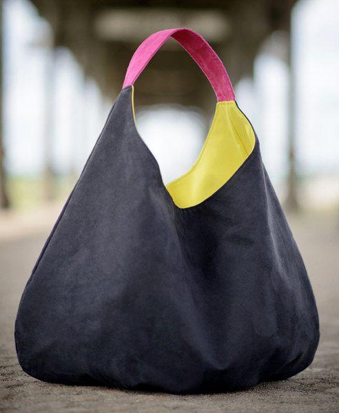 GRANDE negro - xxl hobo de hombro, bolso de packable