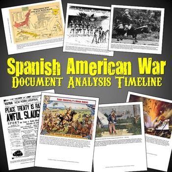 This activity features 10 primary sources from the Spanish American War that students analyze using questions organized onto a timeline. The documents include cartoons, newspapers, lithographs, maps, and pictures all related to each aspect of the war.The questions begin with a cartoon related to America protecting Cuba and move through the explosion on the USS Maine, the Teller & Platt Amendments, Rough Riders, Yellow Journalism, Buffalo Soldiers, Philippine-American War, and more.Each task…