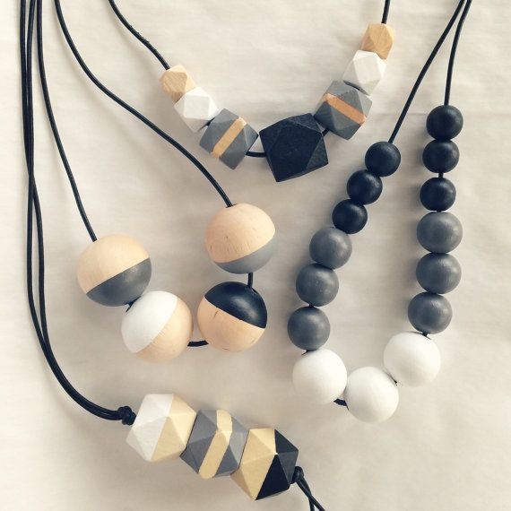 Hand painted geometric wooden bead necklace/ statement by MODFRESH                                                                                                                                                                                 More